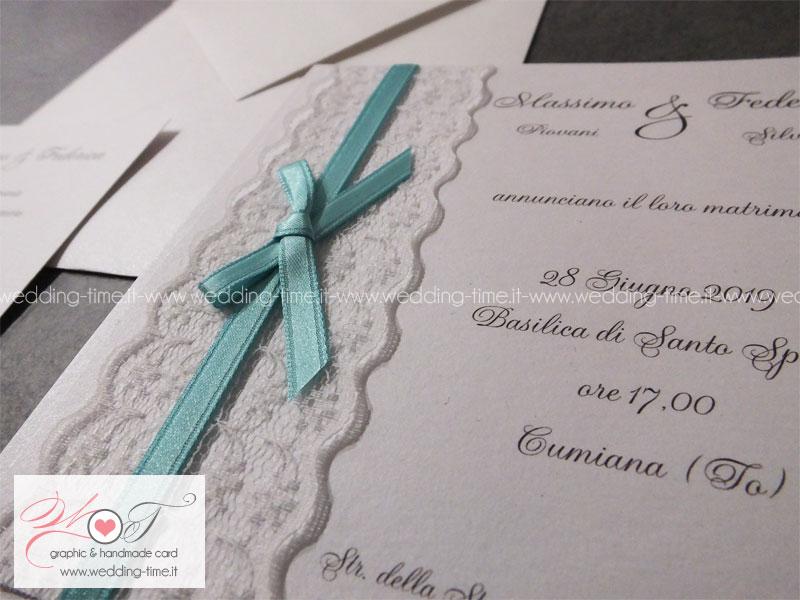 Partecipazioni Matrimonio Color Tiffany.Elegante Partecipazione Matrimonio Con Fascia In Pizzo E Fiocco In