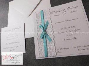Partecipazioni Matrimonio Color Tiffany.Partecipazione Matrimonio Elegante Con Pizzo E Nastro Color Tiffany