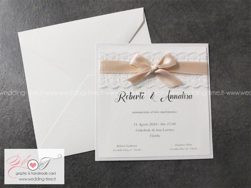 Eccezionale Partecipazione Matrimonio con Pizzo doppio e nastro rosa cipria KS86