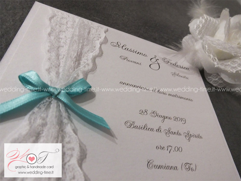 Popolare Partecipazione Matrimonio decorata con Pizzo QF53