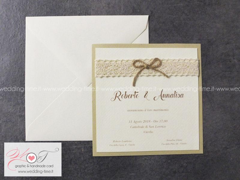 Super Partecipazione Matrimonio Collezione Shabby Chic 001  LO07