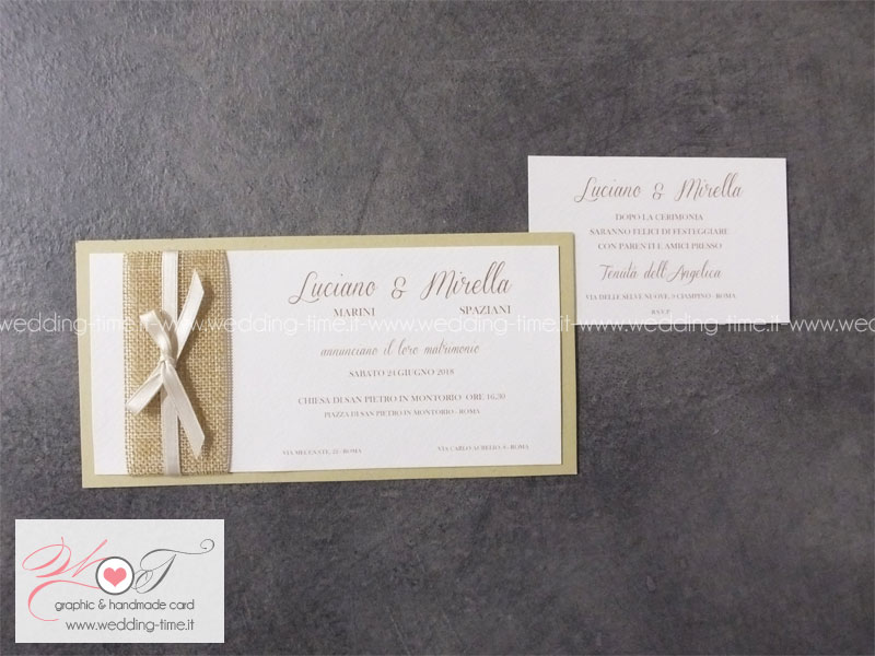Partecipazione Matrimonio Shabby Chic con applicazione di fascia in yuta e nastrino in raso