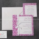 partecipazione matrimonio classica elegante con nastrino e grafica floreale