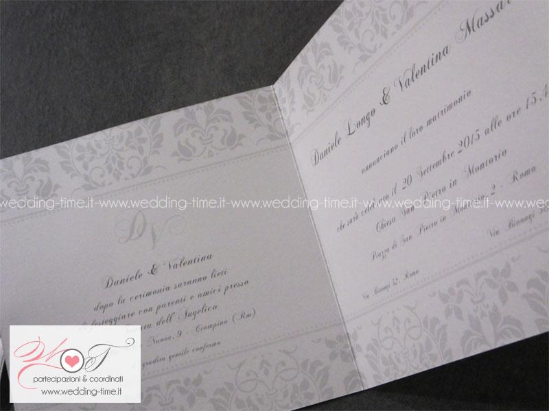 partecipazione matrimonio classica elegante con nastrino