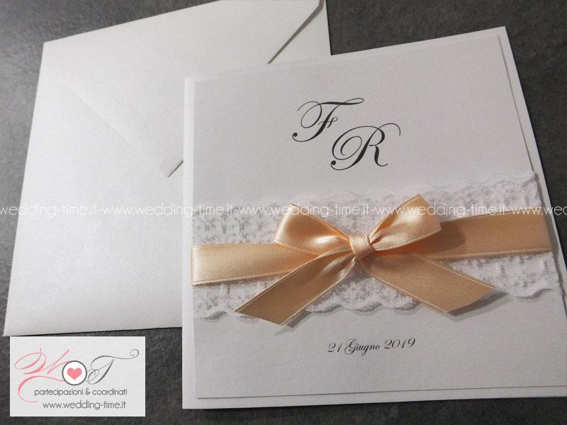 Amato Partecipazione di Matrimonio Elegante con Pizzo e Nastro IR67