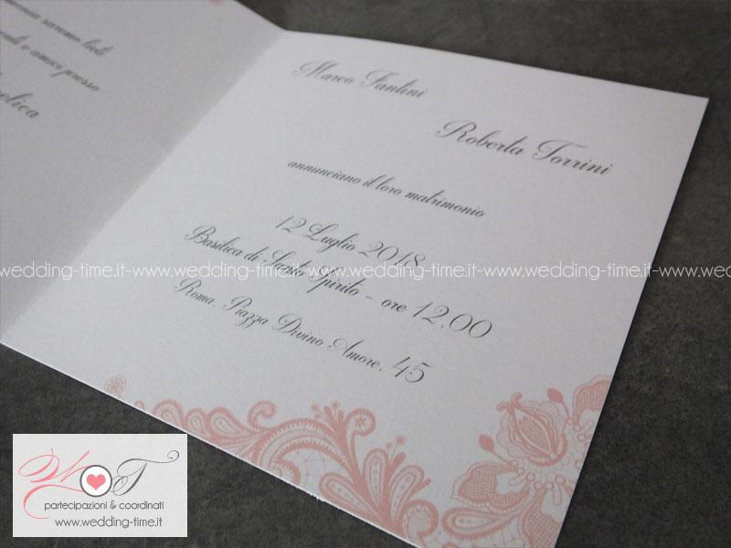 Preferenza Partecipazione Matrimonio Grafica Elegante con Pizzo Rosa Cipria VW18