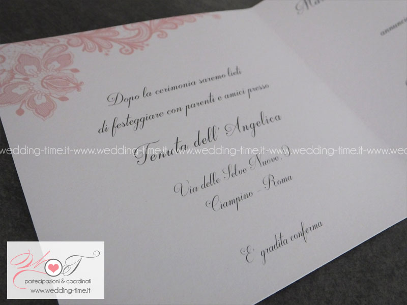 Estremamente Partecipazione Matrimonio Grafica Elegante con Pizzo Rosa Cipria BU39