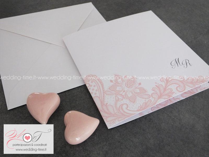 Amato Partecipazione Matrimonio Grafica Elegante con Pizzo Rosa Cipria GO78