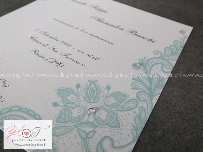 Partecipazioni Matrimonio Color Tiffany.Partecipazione Matrimonio Con Stampa Di Pizzo Color Tiffany E