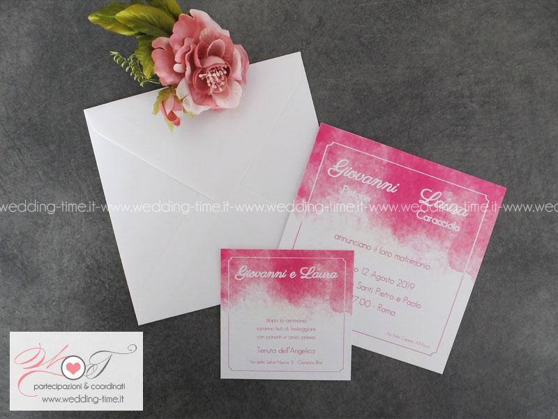 Favorito partecipazione matrimonio grafica colore acquerello YA09