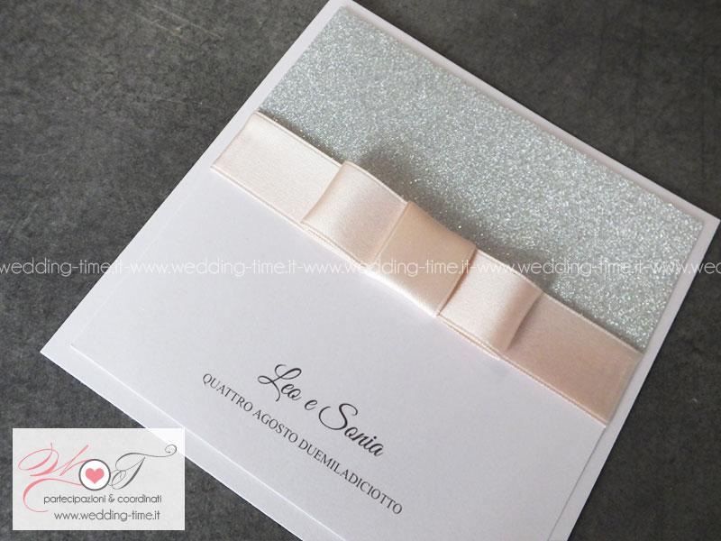 partecipazione matrimonio glamour carta glitter rosa cipria tendenza
