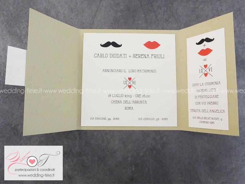 invito nozze vintage baffi bocca