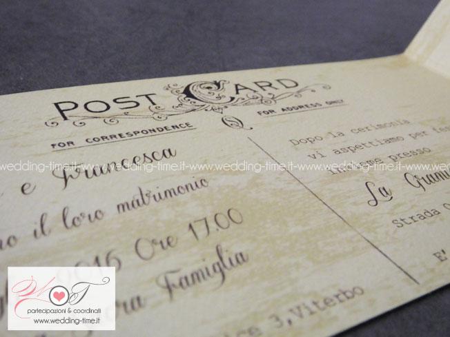 invito di nozze in stile vintage postcard