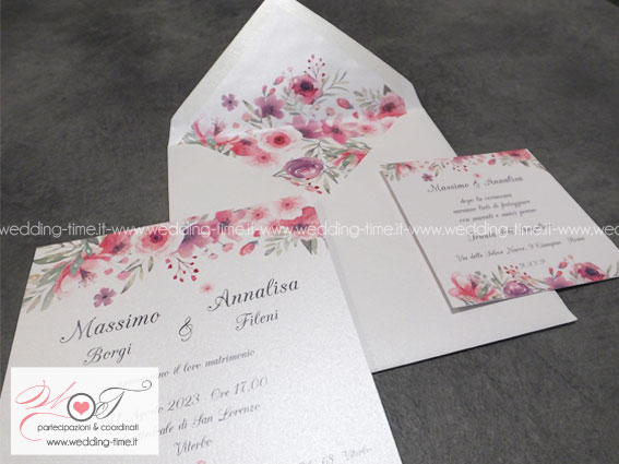 partecipazione matrimonio con stampa floreale rosa