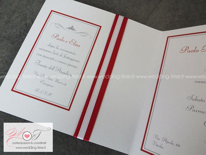 partecipazione matrimonio elegante nastro raso rosso inviti nozze