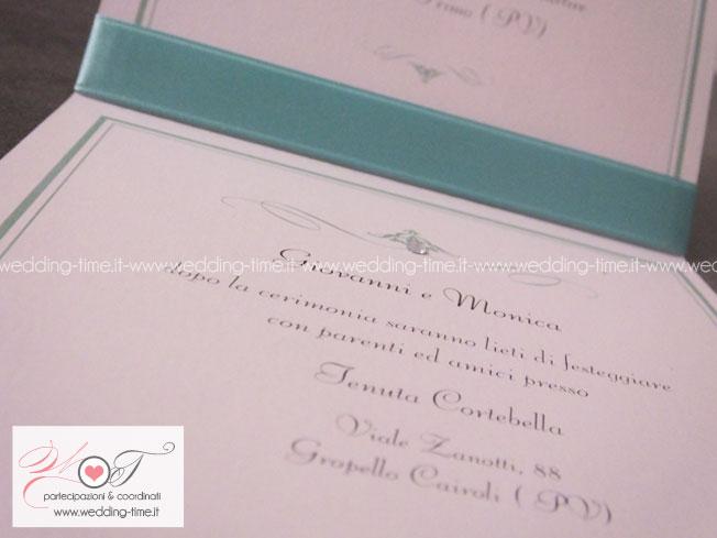 partecipazione nozze color tiffany con strass