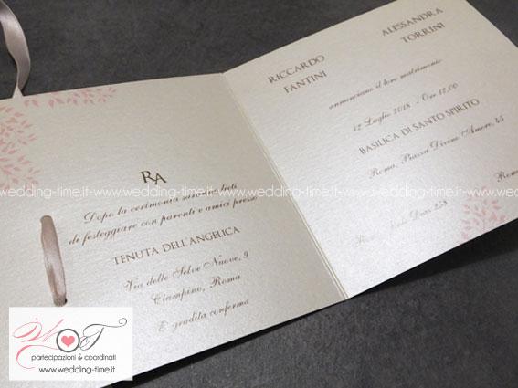 partecipazione matrimonio con decoro oro rosato